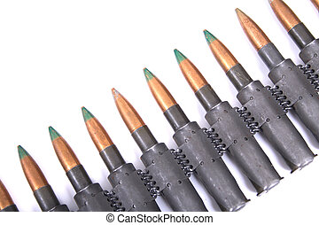 ammo from automatic gun isolated on the white background