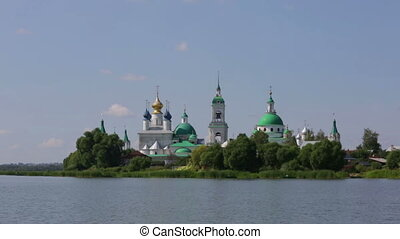 Walk on Neros lake near Spaso-Yakovlevsky Monastery in...