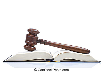 Wooden gavel and law book