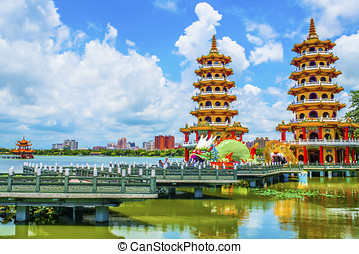 Kaohsiung's famous tourist attractions - Lotus Pond, many...