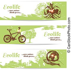 Set of sketch ecology banners. Hand drawn vector illustration