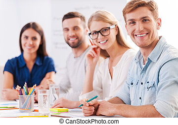 Successful team. Group of confident business people in smart...