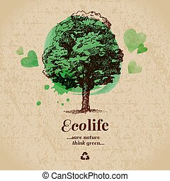 Sketch watercolor ecology poster. Hand drawn vector...