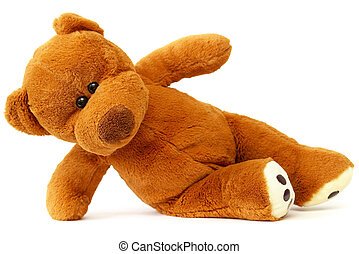Teddy bear - Dancing Brown Teddy bear over white background...