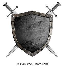 agasalho, de, braços, medieval, cavaleiro, escudo, e,...