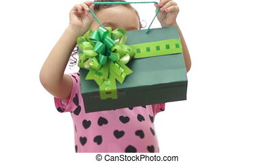 Baby Girl Peeking Gift Bag - Cute baby girl about two years...