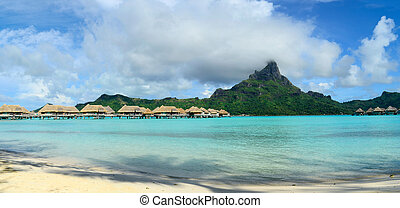 Bora Bora panorama - Panorama view on luxury overwater...
