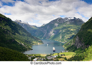 Geiranger fjord view - View over a cruise ship in the fjord...