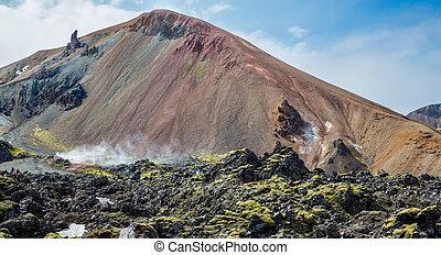 Tourists in Landmannalaugar unbelievable lava landscape,...