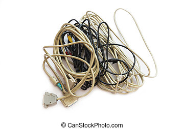 Computer Plugs - Mass of Tangled up Wires, Connections and...