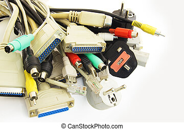 Computer Plugs - Bunch of Computer Cables with Sockets on...