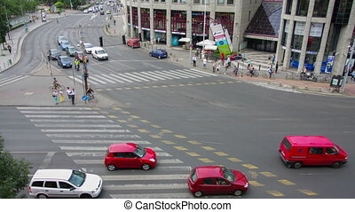 The top view on the big transport intersection. Budapest - the capital of Hungary and the largest city of the country
