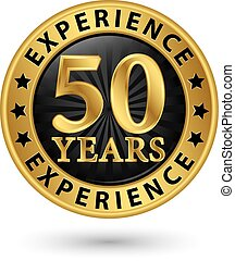 50 years experience gold label, vector illustration