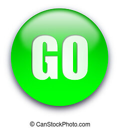 GO button - Green glossy GO button isolated over white...