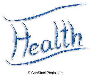Health word blue painting illustration isolated on white...