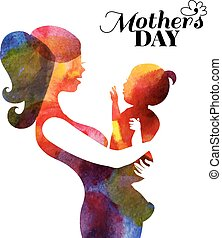 Watercolor mother silhouette with her baby. Card of Happy...