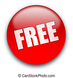 FREE button - Glossy round FREE button isolated over white...
