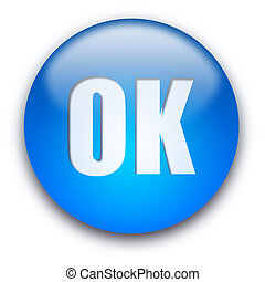 OK button - Blue glossy OK button isolated over white...