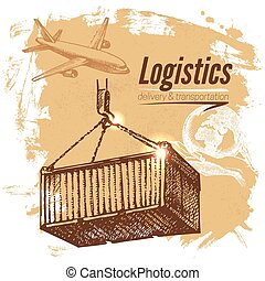 Sketch logistics and delivery background Hand drawn vector...