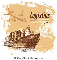 Sketch logistics and delivery background. Hand drawn vector...