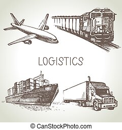 Hand drawn logistics and delivery sketch icons set. Vector...