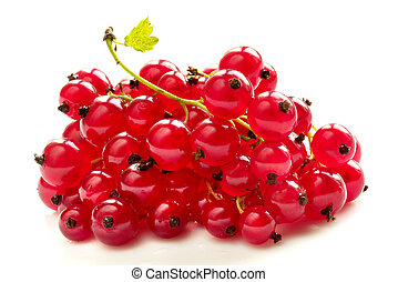 Red currant - Pile of red currants isolated over white...