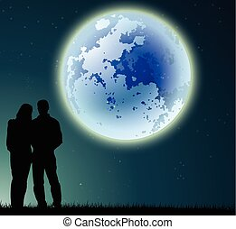 couple silhouette with full moon