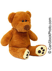Teddy bear (path isolated) - Brown sitting Teddy bear over...