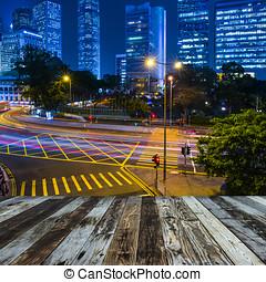 Hong Kong night view - Hong Kong city skyline at nigh