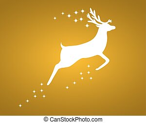 Reindeer with stars on gold