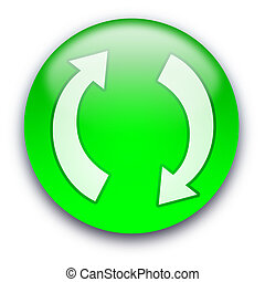 Refresh Recycle button - Glossy round Refresh Recycle button...