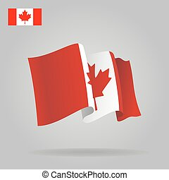 Flat and waving Canadian Flag. Vector illustration