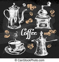 Hand drawn sketch coffee set Vector illustration Chalkboard...