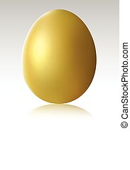 Single gold chicken egg - vector illustration of Single gold...