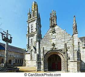 The parish of Lampaul-Guimiliau, Brittany, France. - The...