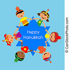 children celebrating Hanukkah and holding hands , Jewish...