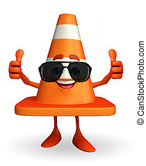 Construction Cone Character with goggle - Cartoon Character...