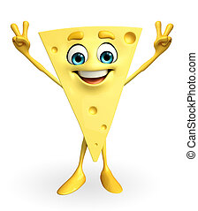 Cheese Character with victory sign - Cartoon Character of...