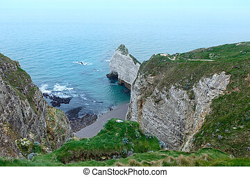 Elephant Cliff in Etretat, France. - One of the natural...