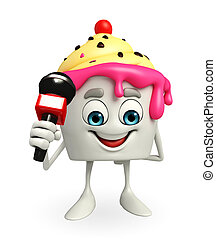 Ice Cream character with mike - Cartoon Character of Ice...