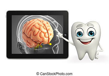 Teeth character with brain anatomy - Cartoon character of...