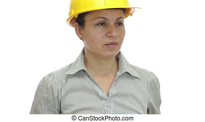 Woman Hardhat Phone For You Smile - A shot of a woman...