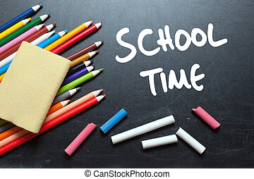 School time School tools around Blackboard background
