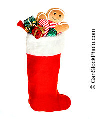Christmas stocking on white - Christmas stocking filled with...