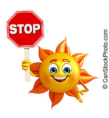 Sun Character with stop sign - Cartoon Character of sun with...
