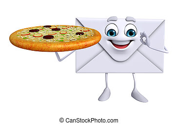 Mail Character with pizza - Cartoon Character of mail with...