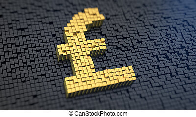 Pound cubics - Pound symbol of the yellow square pixels on a...