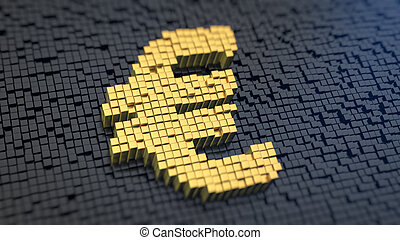 Euro cubics - Euro sign of the yellow square pixels on a...