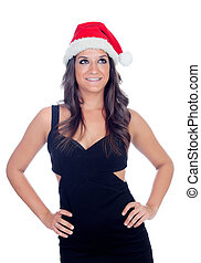 Pensive brunette girl with Christamas hat isolated on a...