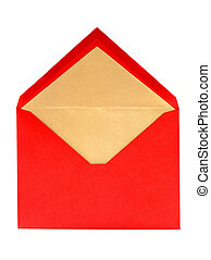 Open red greeting card envelope - Blank red and gold open...